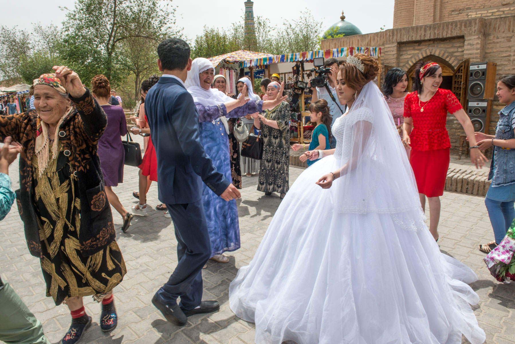Wedding procession in Khiva old town